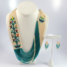 Beaded Necklace and Earring Set Rena Charles Bead Jewellery, Seed Bead Jewelry, Beaded Jewelry, Beaded Necklace, Necklace Set, Native Beadwork, Native American Beadwork, Bead Loom Patterns, Beading Patterns