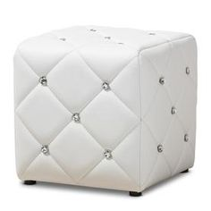 Baxton Studio Stacey Glam White Ottoman at Lowe's. Add a touch of glam to your home with the Stacey ottoman. The solid and engineered wood construction makes this ottoman a sturdy yet compact addition to White Ottoman, Modern Ottoman, Upholstered Ottoman, Leather Ottoman, Ottoman Decor, Unique Furniture, Furniture Deals, Furniture Design, Outdoor Furniture