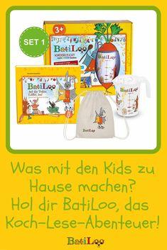 Nur noch für kurze Zeit! Das Lese-Koch-Abenteuer BatiLoo! Es ist nicht nur ein Kochbuch für Kinder sondern eignet sich auch toll zum Vorlesen für kleine Kinder! Dabei lernen sie, spielerisch nach Farben zu kochen mit dem eigenen BatiLoo-Messbecher! Starter Set, Tricks, Mugs, Healthy Eating For Kids, Kid Recipes, Gifts For Children, Kid Games, Parenting, Parents
