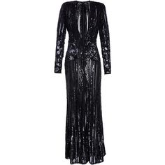Elie Saab     Embroidered Long Dress With Long Sleeves And Deep V-Neck ($13,025) ❤ liked on Polyvore featuring dresses, gowns, black, long-sleeve maxi dress, long sleeve evening gowns, long sequin dress, deep v neck gown and long sleeve evening dresses