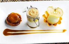 Assiette of apples with apple sorbet, panna cotta and butterscotch sauce
