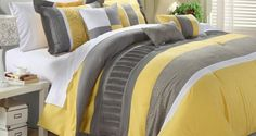 Wake up your bedroom decor by featuring the Euphrasia 8 Piece Comforter Set by Chic Home . This gray and sunny yellow comforter set features geometric. Yellow Comforter Set, Queen Comforter Sets, Bedding Sets, Daybed Bedding, Elegant Home Decor, Elegant Homes, Bed In A Bag, Bed Sets, Luxury Bedding