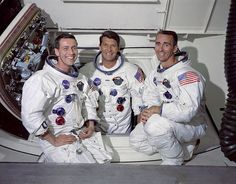 The prime crew of the first manned Apollo space mission from left to right are: Command Module pilot, Don F. Eisele, Commander, Walter M. Schirra Jr. and Lunar Module pilot, Walter Cunningham.