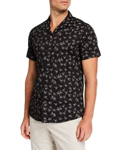 Slate & Stone Men's Short-sleeve Palm Tree Print Sports Shirt In Multi Pattern Camisa Rock, Slate Stone, Palm Tree Print, Striped Knit, Sports Shirts, Short Sleeves, Men Casual, Man Shop, Mens Tops