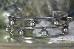 Vintage 925 Sterling Silver & Genuine Black Pearl Sheri Liebert Cuff Bracelet
