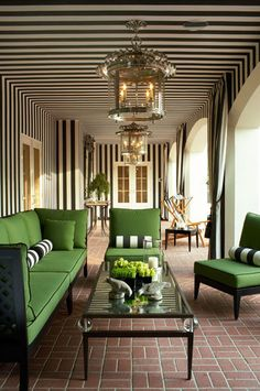 Decorating with black and white stripes and green