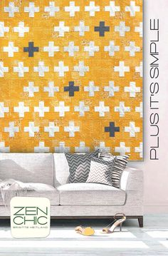 Plus Its Simple modern quilt pattern - Brigitte Heitland for Zen Chic - 65 x 65 - Easy-to-sew beginner quilt Beginner Quilt Patterns, Modern Quilt Patterns, Quilting For Beginners, Quilting Patterns, Patchwork Patterns, Loom Patterns, Quilt Tutorials, Modern Quilting Designs, History Of Quilting