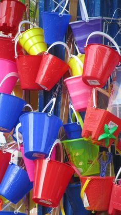 Bright seaside buckets - it wouldn't be the seaside without them! With so many beaches nearby you will want a few if you have kids! Summer Fun, Summer Time, Happy Summer, Summer Colors, Summer Days, True Colors, All The Colors, Seaside Shops, British Holidays