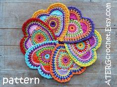 Crochet pattern HEART 'color burst' by ATERGcrochet