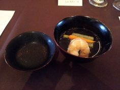 From Kyoto with Love Dinner Prepared by Chef Ryuta Sakamoto:  2nd course- Osuimono- Yomogi flavored sesame tofu, shrimp and baby carrot with clear broth.   Paired with 2012 Ken Wright Cellars Bonnie Jean Vineyard Pinot Noir  #foodies #kyotocusine #Japan #KenWrightCellars #OregonPinotNoir