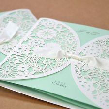 20 Set BHands Card BH2065 Laser Cut Wedding Invitation Satin Ribbon Tiffany Blue