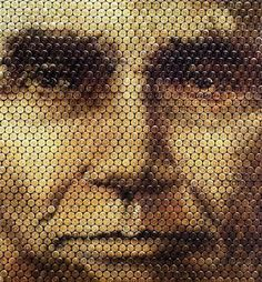 Lincoln's face made out of bullet casings.