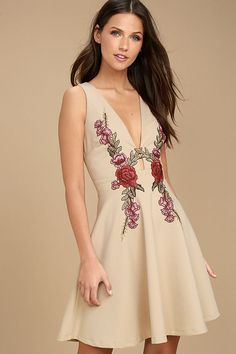 There is nothing quite as sweet as the Romantic Rose Beige Embroidered Skater Dress! Knit fabric shapes bodice with a plunging V-neck, fitted waist, and full skater skirt. Club Dresses, Short Dresses, Maxi Dresses, Party Dresses, Cute Skater Dresses, Skater Skirt, Latest Fashion Dresses, Beige Dresses, Online Dress Shopping