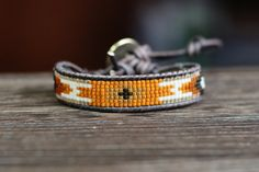 Seed beads and leather tribal wrap bracelet