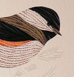 Quilled Chickadee in Spruce, framed wildlife wall art, ready to hang   QuillingbySandraWhite - Housewares on ArtFire