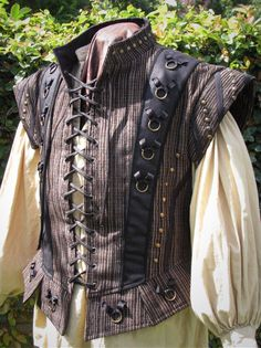 Medieval Dude's Black and Textured Stripe Doublet Ready to Ship Renaissance, Pirate, LARP, SCA Renaissance Costume, Renaissance Men, Medieval Costume, Renaissance Clothing, Historical Costume, Historical Clothing, Larp, Ricardo Iii, Mens Garb