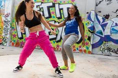We Mesh Adjustable V-Bra, Mo' Fun French Terry Pants and Zumba Street Glam shoes (left), and Frill Me Bubble Racerback, Fab French Terry Capri Pants and Zumba Impact Plus shoes (right).  #zumbawear #fitnesswear #letitmoveyou
