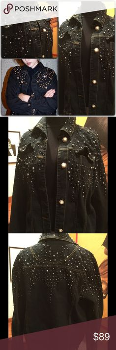 Boho Glam Vintage embellished Black Jean Jacket Another super find in the treasure vintage warehouse near me frequented. Y designers around the world! Black denim is artfully sprinkled with rhinestones, silver beads and baubles. The buttons are amazing. Faux pearls on front and huge rhinestones on cuffs! Wow 💕A few baubles are loose or missing and there are some distressed marks on the jacket but I think it adds to the cool factor. Sort of like a more hip version of the brand Miss Me! True…