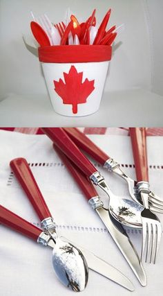 White and red colors, national symbols and creative craft ideas help bring the Canada Day spirit into Canadian homes and design unique and beautiful holiday table decorations and centerpieces Canada Day 150, Canada Day Party, Happy Canada Day, O Canada, Party Table Decorations, Party Themes, Party Ideas, Canadian Party, Canada Day Fireworks