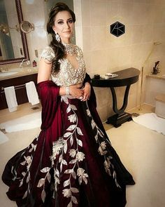 DS 20 518 Deep maroon contemporary crop top and skirt.   Price - INR 34800 Shipping worldwide.  Fabric - Aged Velvet.  Work - Tropical Zardozi, Swarovski.  For price, orders & other information  DM or Whats App on +91 9930089059  Happy Shopping :) Regards,  The DRESS SHOP Team.