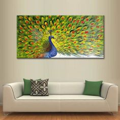 Modern City Scenery Hand painted Oil Canvas Painting peacock train(No Frame) #ArtDeco