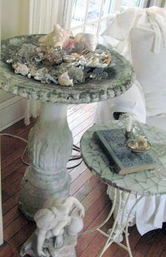 bird bath for shells or pillar candles  A Re-Purposed Life