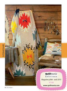 QUILTMANIA Magazine N°108 (July August 2015) Eté Indien - réalisé par Nicole Lorenz pour Art Gallery - http://www.quiltmania.com/organisation/la-boutique.html