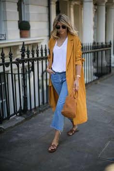 mustard coat with cropped jeans STYLE CRUSH | Emma Hill