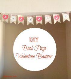 DIY book page valentine banner