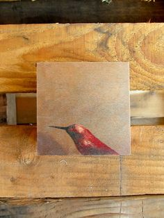 "4"" x 4"" wood print featuring a happy hummingbird. wood block is 1.5"" wide. each piece arrives ready to hang"