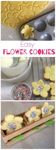 Flower cookies perfect to bake with kids for a mom/gran or teacher!