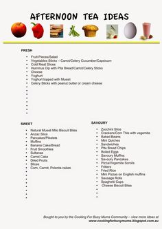 Earlier in the week a follower on the Cooking For Busy Mums Facebook Page asked for some ideas for Afternoon Tea. There were some fantastic ideas from the Cooking For Busy Mums community so I have put them altogether in a Free printable for you print and have on hand for when you need some […]