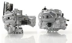 The new R1200 powertrain (right) is dramatically more compact than the previous…