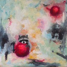 """holding on to love"" 100 x 100 cm art by Majbrit Skou"