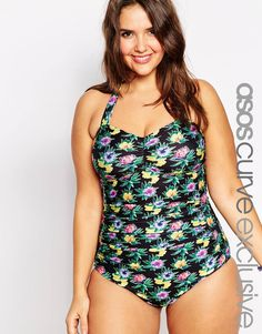33755cc585bae ASOS CURVE Exclusive Control Swimsuit in Print at asos.com