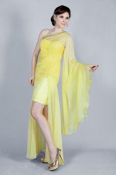 Asymmetrical Sweep Train Daffodil Split Front Chiffon Thin Chic & Modern Long Sleeves Cocktail Dress