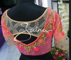 Bridal Saree Blouse Back Neck Designs - Kurti Blouse Blouse Back Neck Designs, Sari Blouse Designs, Fancy Blouse Designs, Designer Blouse Patterns, Maggam Work Designs, Stylish Blouse Design, Blouse Models, Saree Blouse, Sumo