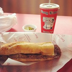 Check Out Tony Luke\'s in Philadelphia, PA as seen on Man vs Food and featured on TVFoodMaps. Known for Tony Luke's Ultimate Cheesesteak Challenge: a 5-pound cheesesteak made with 3 pounds of beef, 1 pound of American cheese (which Richman chose over the traditional Cheez Whiz), and stuffed inside a 20-inch roll topped with a half pound of fried onions.