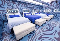 The Big Brother Canada house got a chic makeover for season What better than an espionage inspired theme as cameras spy on houseguests Take a tour of the new house! Big Brother Canada, Big Brother House, Canada House, Season 8, House 2, Headboards, Ottomans, Moonlight, Cali