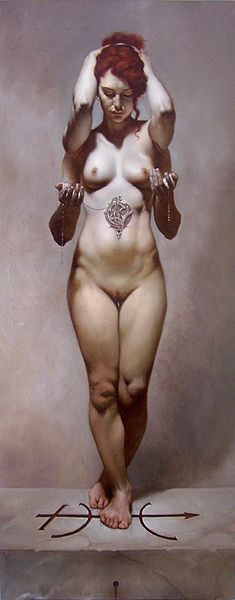 """day 12. This artwork is entitled: Gaia by Roberto Ferri, but it reminds me of Lakshimi. """"Blessed Goddess Lakshimi, teach me to embrace my self, expose my self as an expression of the Divine feminine. Show me how to adorn my self in ways that honor who I am. Thank you, beloved mother, sister, lover, friend."""""""