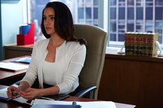 """""""Of all the women on this show, Rachel likes to mix it up the most with her workwear. The queen of 'separates', Rachel is rarely seen in a dress, instead opting for silk blouses, pencil skirts, cashmere sweaters, cropped cardigans and tailored shirts."""""""