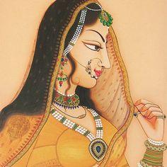 A famous Rajput painting, Bani Thani (elegantly dressed). Pichwai Paintings, Mughal Paintings, Krishna Painting, Madhubani Painting, Indian Art Paintings, Krishna Art, Abstract Paintings, Rajasthani Painting, Rajasthani Art