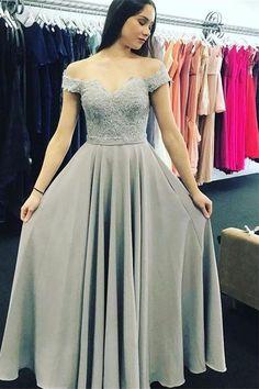 Elegant A-Line Off-The-Shoulder Floor Length Prom/Evening Dress With Appliques
