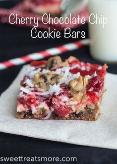 Ooey, gooey cherry chocolate chip cookie bars are the perfect treat for that special someone this Valentine's Day. Fun Desserts, Delicious Desserts, Dessert Recipes, Bar Recipes, Recipies, Brownie Recipes, Cookie Recipes, Yummy Treats, Sweet Treats