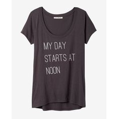 Express One Eleven Day Starts At Noon Graphic Tee ($17) ❤ liked on Polyvore featuring tops, t-shirts, grey, long t shirts, short-sleeve shirt, graphic design t shirts, grey shirt and t shirts