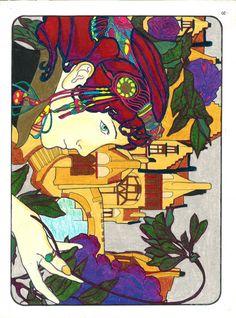 Carol Kaminski 18+ division Art Nouveau Figurative Designs Beryl Prismacolor Pencils