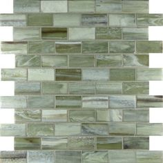 """Jungle 1"""" x 2"""" Green Pool Frosted Glass - Tile - Glass Tile Oasis"""