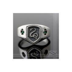 Slytherin House Ring, Harry Potter Inspired via Polyvore featuring jewelry, rings, harry potter, green ring, silver jewelry, green silver ring, silver jewellery and silver rings