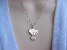 Bird Necklace  Gold Bird Necklace  Gold Jewelry   Mom by MonyArt, $23.80