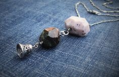 Boho Chic Jewelry-Rustic Opal Necklace-Faerie Bell Necklace-Peruvian Opal Nugget Bead Necklace-Bell Charm Necklace-Boulder Opal…